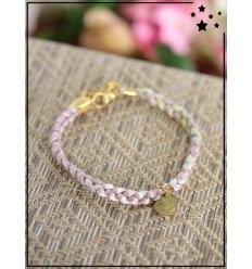 Bracelet - Tressé - Médaillon Coeur - Gris/Vert