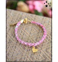Bracelet - Tressé - Médaillon Coeur - Rose