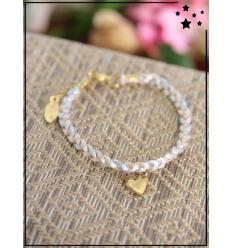 Bracelet - Tressé - Médaillon Coeur - Gris/Beige