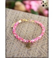 Bracelet - Tressé - Médaillon Coeur - Fushia/Poudré