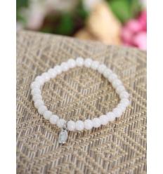 Bracelet - Perles - Médaillon - Blanc