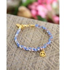 Bracelet - Tressé - Médaillon Peace & Love - Bleu/Gris