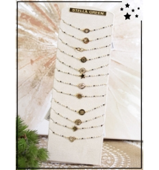 Bracelets x 12 - Perles et motif doré - Blanc