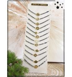 Bracelets x 12 - Perles et motif doré - Noir