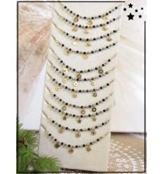 Bracelets x 12 - Perles breloques - Noir et doré