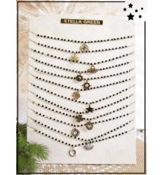 Colliers x 12 - Pierres naturelles - Motifs - Noir et doré