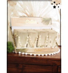 Colliers x 24 - Coquillages - Brillants - Blanc et doré