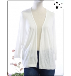 TU max 44 - Gilet ouvert - Manches 3/4 - Blanc