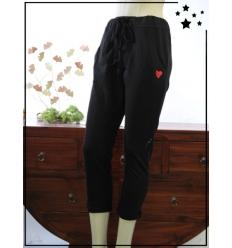 TU max 44 - Pantalon 7/8 en coton - Coeur brodé - Noir