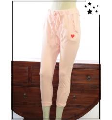 TU max 44 - Pantalon 7/8 en coton - Coeur brodé - Poudré