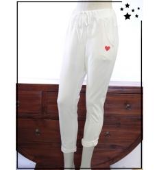 TU max 44 - Pantalon 7/8 en coton - Coeur brodé - Blanc