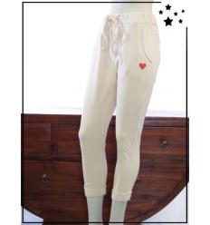 TU max 44 - Pantalon 7/8 en coton - Coeur brodé - Crème