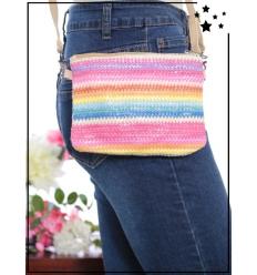 Pochette de sac / Bandoulière - Raphia - Bandes colorées - Rose poudré