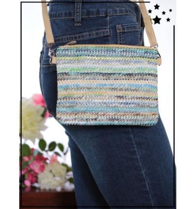 Pochette de sac / Bandoulière - Raphia - Bandes colorées - Bleu