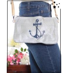 Pochette de sac / Bandoulière - Raphia - Ancre marine - Gris