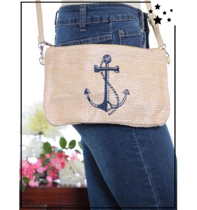 Pochette de sac / Bandoulière - Raphia - Ancre marine -  Beige/Poudré
