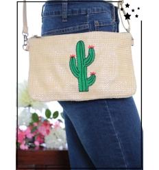 Pochette de sac / Bandoulière - Raphia - Cactus - Beige