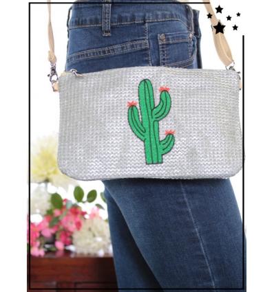 Pochette de sac / Bandoulière - Raphia - Cactus - Gris