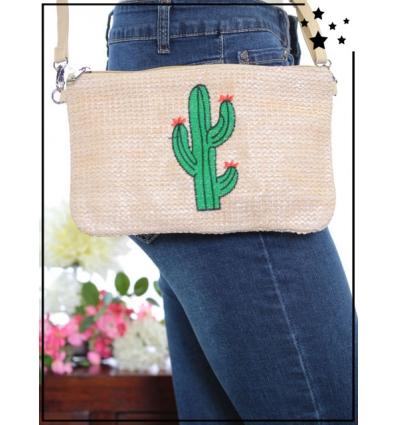 Pochette de sac / Bandoulière - Raphia - Cactus - Beige/Poudré