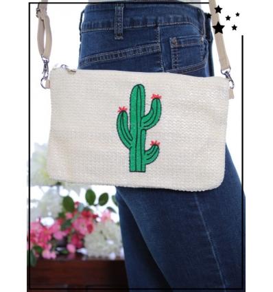 Pochette de sac / Bandoulière - Raphia - Cactus - Crème
