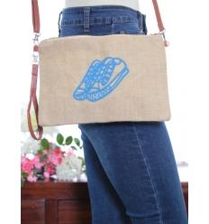 Pochette de sac / Bandoulière - Raphia - Basket - Turquoise