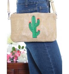 Pochette de sac / Bandoulière - Raphia - Cactus - Nature