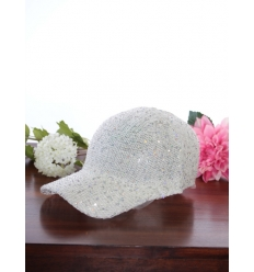 Casquette - Sequins - Blanc
