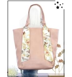 Sac à main - Bandes fleuries - Poudré