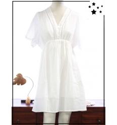 TU 44 Max - 100% coton - Robe - Dentelle et boutons - Blanc