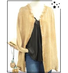 TU max 46 - 100% coton - Veste chemise - Col avec détail dentelle - Sable