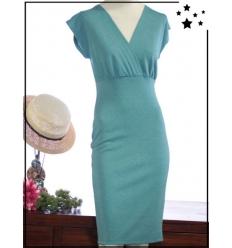 Daniela - M au XL - Viscose - Robe - Brillant - Turquoise - DK101