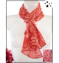 Foulard court - Soie et coton - Imprimé bandana - Rouge