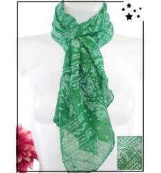Foulard court - Soie et coton - Imprimé bandana - Vert