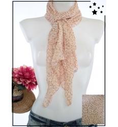 Foulard court - Soie et coton - Petites fleurs - Rose