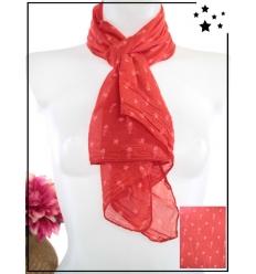 Foulard court - Soie et coton - Arête de poisson et étoile - Rouge