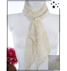 Foulard court - Soie et coton - Fleurs et détails dorés - Sable