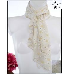 Foulard court - Soie et coton - Fleurs et détails dorés - Beige
