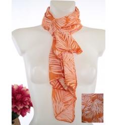 Foulard court - Soie et coton - Feuilles tropicales - Orange