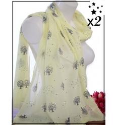 Foulard touches brillantes x2 - Arbre de vie - Jaune pâle