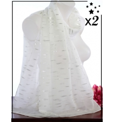 Foulard touches brillantes x2 - Façon pointillé - Blanc