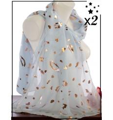 Foulard touches brillantes x2 - Imprimé animalier - Ciel