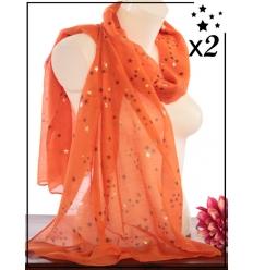 Foulard touches brillantes x2 - Etoiles - Orange