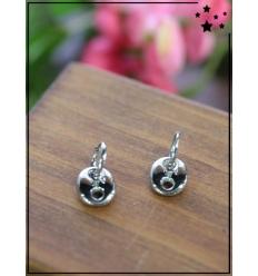Boucles d'oreilles - Petite boucle et maillon - Argenté