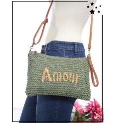 Pochette de sac / bandoulière - Raphia - AMOUR - Kaki