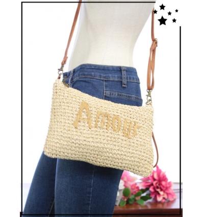 Pochette de sac / bandoulière - Raphia - Fils dorés - AMOUR - Beige