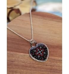Collier - Coeur - Motif noir et rouge - Argenté