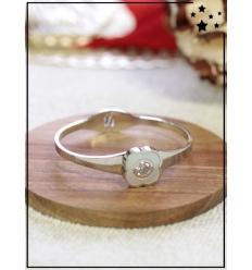 Bracelet - Fleur nacre et strass - Argenté