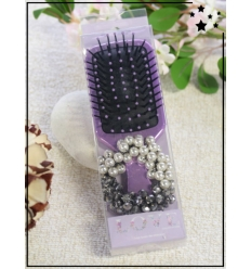 Brosse à cheveux et élastique - Lilas