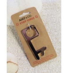 Porte-clé ouvre-porte et pousse bouton - Argenté