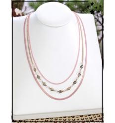 Collier multirangs - Perles et médailles - Rose et doré